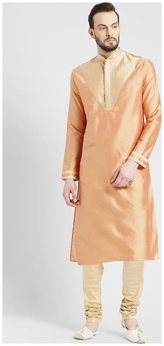 Kisah Men's Light Peach Benarasi Cotton Silk Yoke Design Kurta Churidar Set