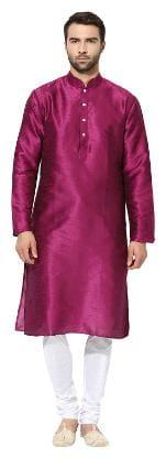 Kisah Men's Magenta Dupion Silk Solid Coloured Kurta Churidar Set