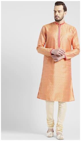 Kisah Men's Kesaria Light Yellow Benarasi Jaquard Cotton Silk Self Design Kurta Churidar Set