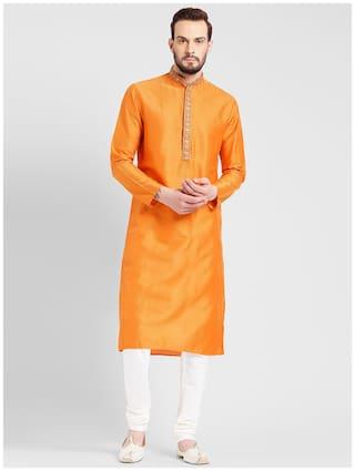 Kisah Men's Orange Benarasi Jaquard Cotton Silk Embroidered Kurta
