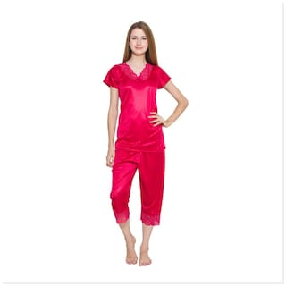 Kismat Fashion Red Top & Capri Set With Lace Work