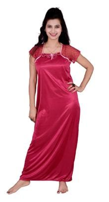 0da77275b4e Kismat Fashion Satin Night Gown Solid Nightwear Red - (Pack of 1 )