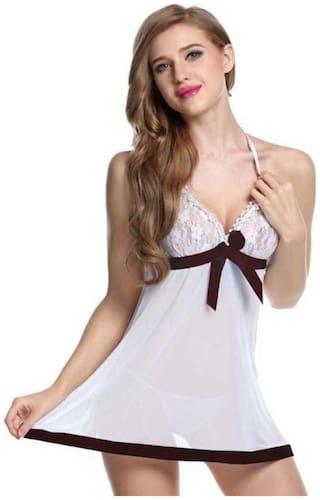 Kismat Fashion Sexy & Stylish Net Nighty With G-String Panty