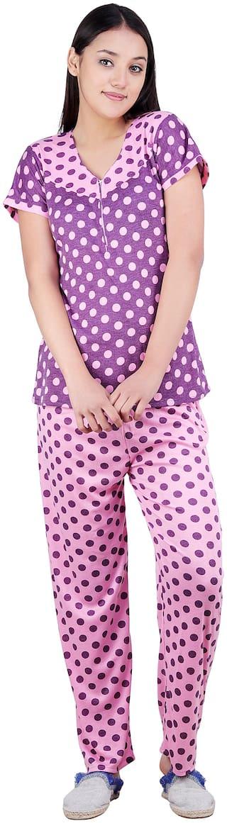 Kismat Fashion Women Hosiery Polka Dots Top and Pyjama Set - Purple