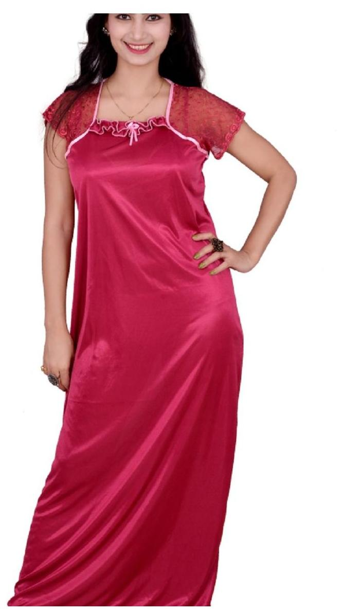 bf3d2f9ec0 https   assetscdn1.paytm.com images catalog product . Kismat Fashion Satin  Night Gown Solid Nightwear Red - (Pack of 1 )