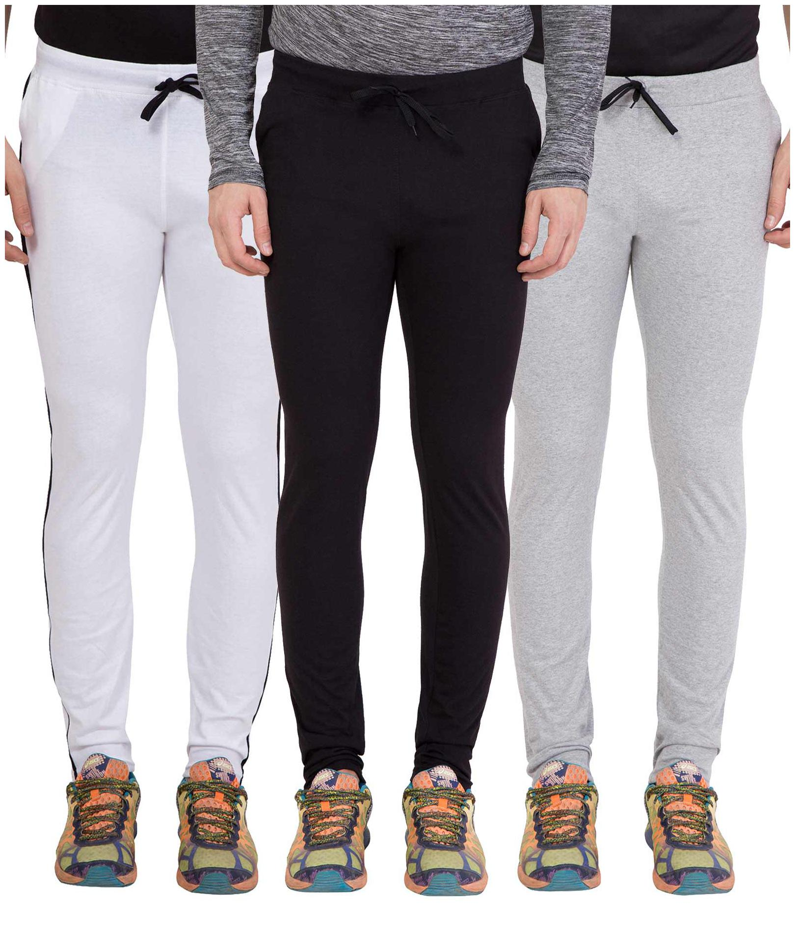 Slim Fit Cotton Track Pants Pack Of 3
