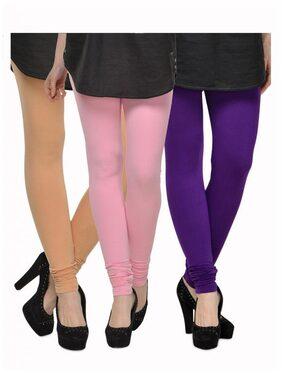 Kjaggs Pack Of 3 Multi Color Cotton Leggings