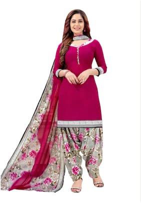 KKRISH Red Unstitched Kurta with bottom & dupatta With dupatta Dress Material
