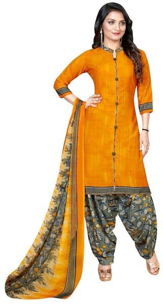 KKRISH Orange Unstitched Kurta with bottom & dupatta With dupatta Dress Material