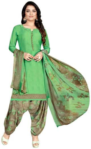 KKRISH Green Unstitched Kurta with bottom & dupatta With dupatta Dress Material