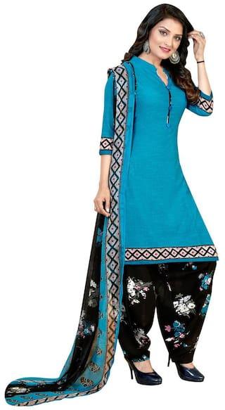 KKRISH Blue Unstitched Kurta with bottom & dupatta With dupatta Dress Material