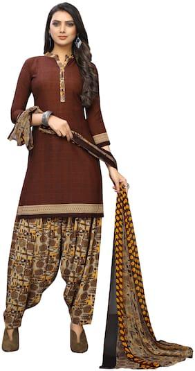KKRISH Brown Unstitched Kurta with bottom & dupatta With dupatta Dress Material