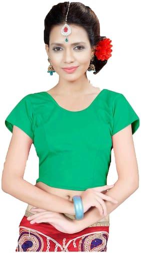 KKRISH Women Lycra Solid Blouse Green