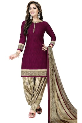 KKRISH Purple Unstitched Kurta with bottom & dupatta With dupatta Dress Material