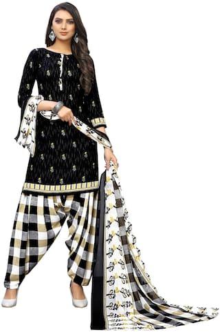 KKRISH Black Unstitched Kurta with bottom & dupatta With dupatta Dress Material