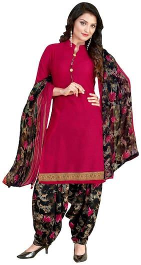 KKRISH Pink Unstitched Kurta with bottom & dupatta With dupatta Dress Material