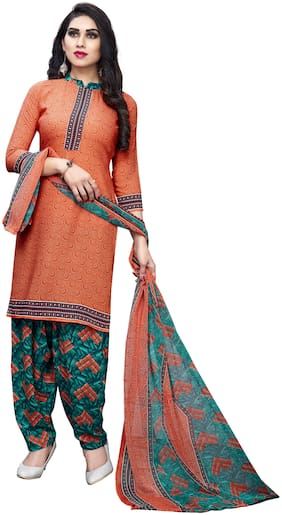 KKRISH Orange Unstitched Kurta with bottom & dupatta With dupatta Dress Material