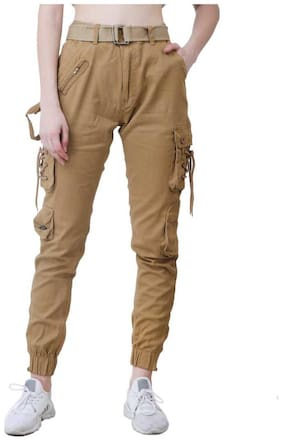 Chrome & Coral Women Beige Regular fit Cargos