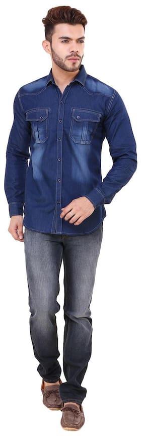 Klick2Style Men Stylish Washed Look Denim Shirt with 2 Pockets Blue S to XXXL
