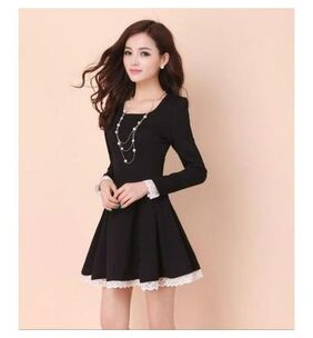 Klick2Style Long-Sleeved Lace Trim A-Line Dress Black