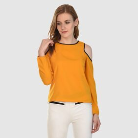 Klick2Style Cold Shoulder Plain Top Mustard