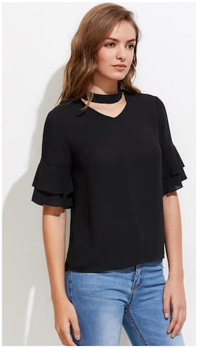 Chrome & Coral Women Solid A-line top - Black
