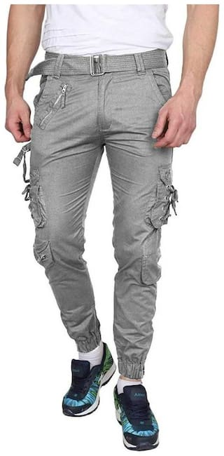 Chrome & Coral Men Grey Solid Regular fit Cargos