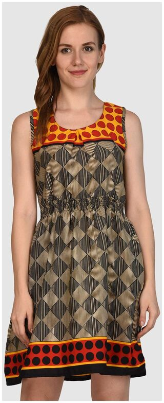 KLick2style Printed Brown Dress
