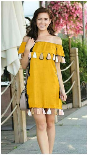 Chrome & Coral Yellow Solid A-line dress