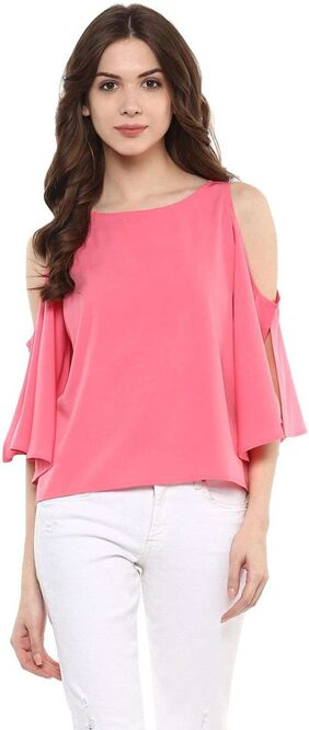 Klick2Style Casual 3/4th Sleeve with Slit Cold Shoulder Solid Women's Top Pink