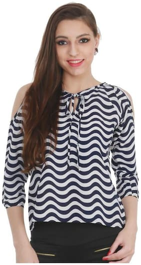 Women Striped V Neck Top