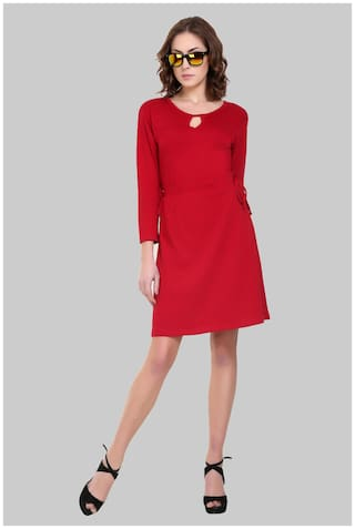 Klick2Style Polyester Solid A-line dress Red