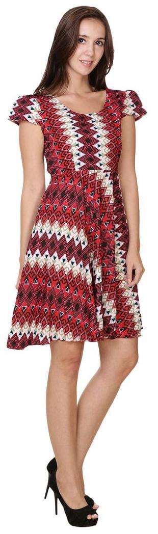 Scoop Color Red Klick2Style Dress Aline Neck 51XxaBq