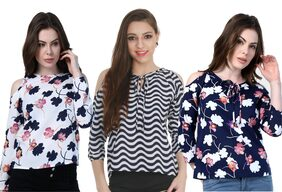 Klick2Style Cold Shoulder Tops Pack of 3 Waves & Floral Print