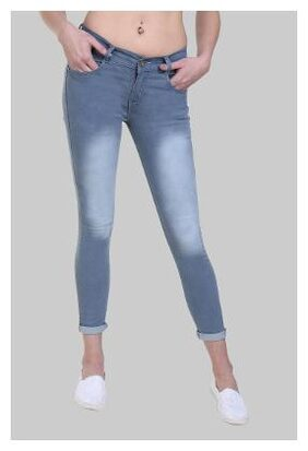Klick2Style Women's Slim Fit Faded Washed Jeans Light Grey