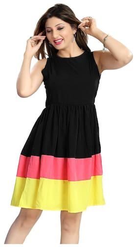 Klick2Style Polyester Solid Bodycon Dress Black