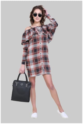 Klick2Style Half Sleeve Off Shoulder Check Print Crepe Dress