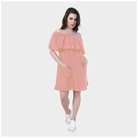 Klick2Style Cold Shoulder Crepe Dress Peach