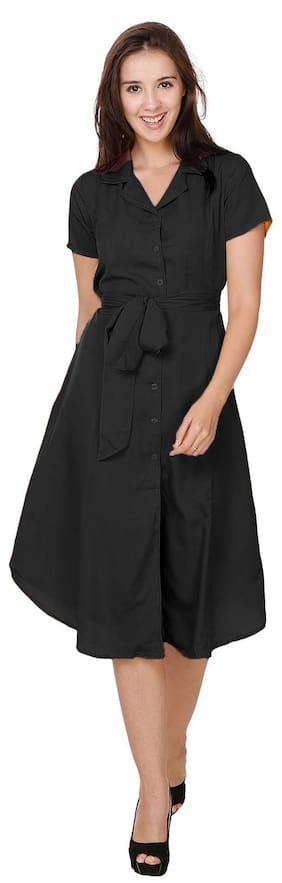 Klick2Style Cotton Striped A-line Dress Black