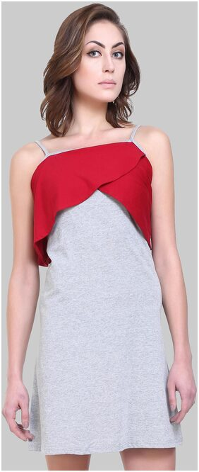 Klick2Style Women's Cotton Blend Red and Grey Dress