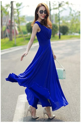 Klick2Style Blue Maxi Dress Geogette Cap Sleeves B1wqx8vA