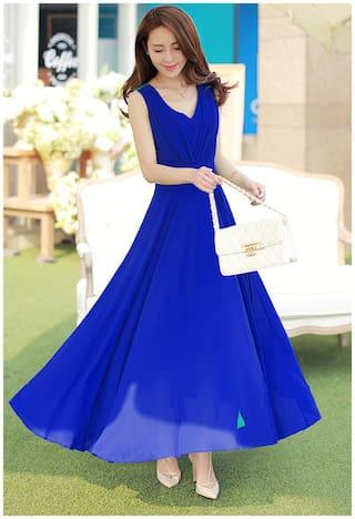Klick2Style Polyester Floral A-line dress Blue