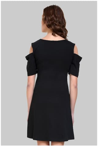 Sleeve Half Jersey Klick2Style Shoulder Dress Black Cold Zz5xxW1wq6