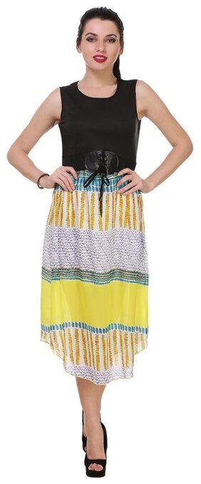 KLick2Style Stylish Midi Dress With Belt Lemon
