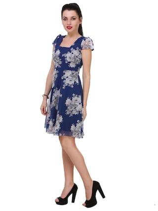 Stylish Skater Print Blue Floral KLick2Style Dress dxUA0dwq