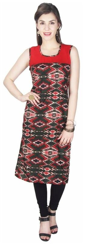Klick2Style Women's Georgette and Crepe Red and Green Kurti