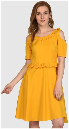 Klick2Style Frill Neck & Waist Trim Cold Shoulder Aline Dress Mustard