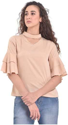 Women Solid V Neck Top