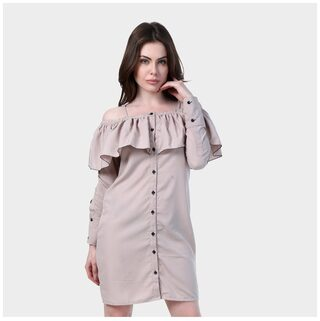 Klick2Style Polyester Solid Bodycon Dress Grey
