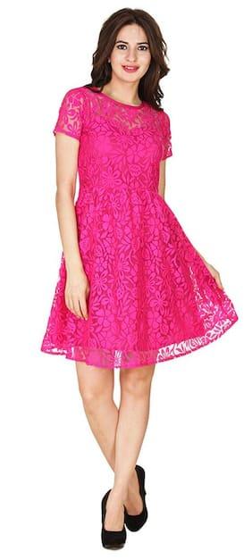 KLick2Style Stylish Skater Dress Pink